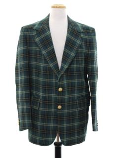 1970's Mens Plaid Disco Style Golf Blazer Sport Coat Jacket