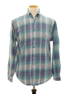 1980's Mens Totally 80s Style Preppy Flannel Shirt