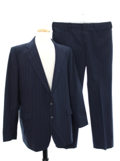 1980's Mens Matching 2 Piece Western Style Pinstripe Suit