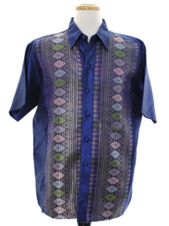 1990's Mens Ethnic Hippie Style Club or Rave Shirt