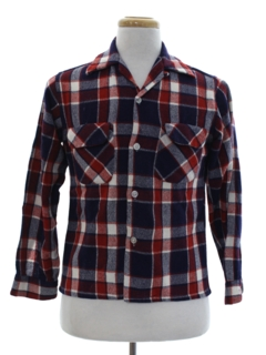 1940's Mens Plaid Wool Board Style Sport Shirt