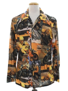 1970's Mens Collectible Photo Print Disco Shirt