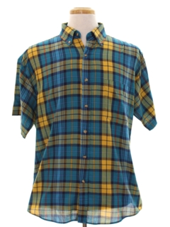 1980's Mens Plaid Preppy Sport Shirt