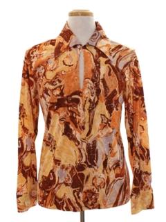 1970's Mens Psychedelic Print Disco Shirt