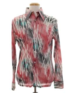 1970's Mens Shiny Nylon Print Disco Shirt