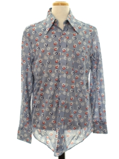 1970's Mens Shiny Nylon Print Disco Shirt