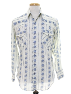 1970's Mens Print Hippie Style Western Shirt