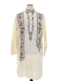 1960's Mens Embroidered Guru Style Hippie Caftan Shirt