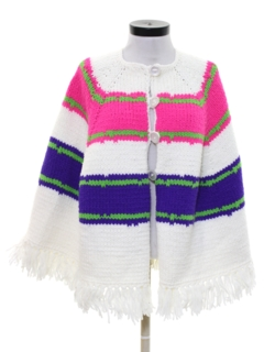 1970's Womens Crocheted Hippie Poncho Jacket