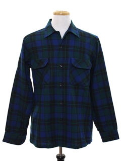 1960's Mens Mod Wool Flannel Pendleton Board Style Shirt