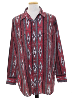 1990's Mens Geometric Southwestern Print Western Shirt