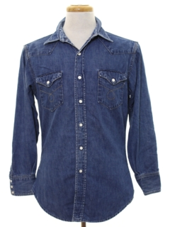 1960's Mens Grunge Denim Western Work Shirt