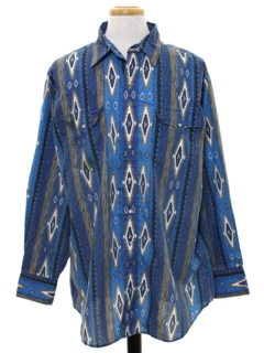 1990's Mens Southwestern Style Geometric Print Western Shirt