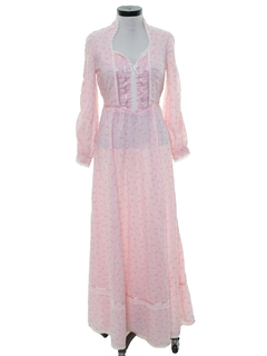 1970's Womens Hippie Style Prairie Maxi Dress