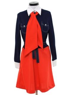 1970's Womens Mod A-Line Knit Secretary Dress