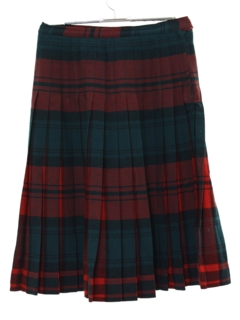 1950's Womens Mod Pleated Plaid Skirt