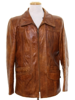1970's Mens Fight Club Style Mod Leather Jacket