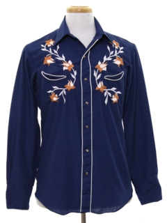 1980's Mens Embroidered Rodeo Style Western Shirt