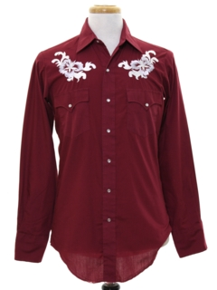 1980's Mens Hippie Style Embroidered Western Shirt