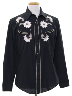 1980's Mens Rodeo Style Embroidered Hippie Western Shirt