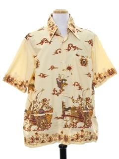 1970's Mens Batik Ethnic Style Hippie Shirt