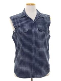 1990's Mens Joe Dirt Style Cut Off Flannel Western Shirt