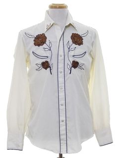1980's Mens Hippie Style EmbroideredWestern Shirt