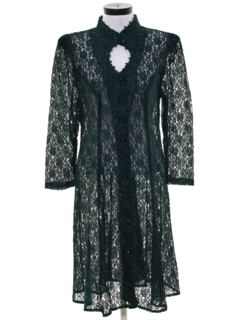 1980's Womens Totally 80s Goth Lace Cocktail Dress
