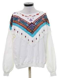 1980's Womens Totally 80s Southwestern Style Fringed Shirt