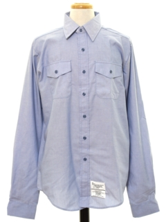 1980's Mens Chambray Navy Issue Work Shirt