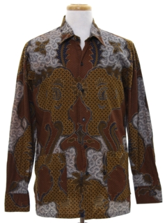 1980's Mens Ethnic Hippie Style Sport Shirt