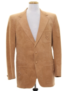 1970's Mens Faux Leather Blazer Sportcoat Jacket