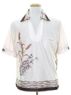 1970's Mens Resort Wear Style Print Disco Shirt