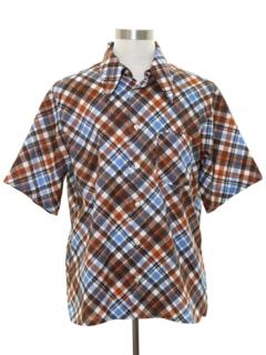 1970's Mens Plaid Disco Style Sport Shirt