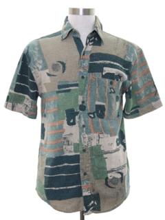 1990's Mens Graphic Print Silk Shirt