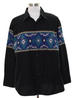 1990's Mens Southerwestern Geometric Print Western Shirt