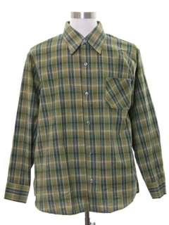 1960's Mens Mod Plaid Flannel Shirt