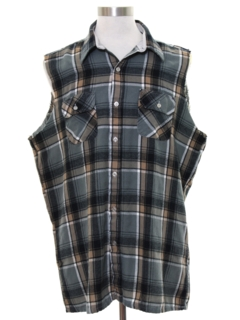 1990's Mens Grunge Cut Off Sleeveless Flannel Shirt
