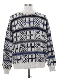 1980's Mens Totally 80s Geometric Snowflake Sweater