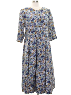 1980's Womens Totally 80s Floral Print Dress
