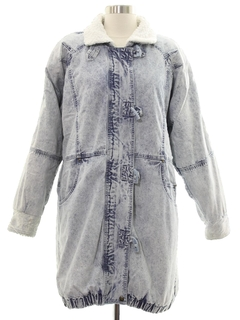 1980's Womens Totally 80s Acid Washed Denim Car Coat Jacket
