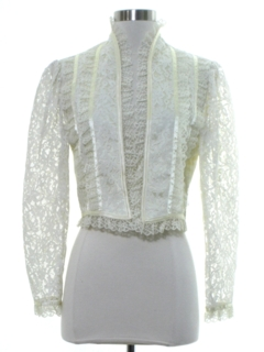 1980's Womens Totally 80s Victorian Style Lace Shirt