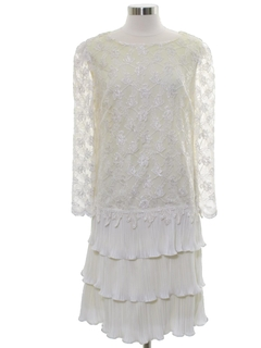 1980's Womens Totally 80s Lace Prom Or Cocktail Dress