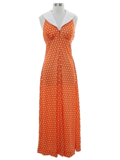 1970's Womens Designer Mod Maxi Dress