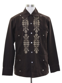 1970's Mens Leisure Style Guayabera Shirt Jacket