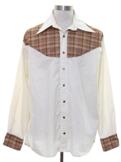 1970's Mens Two Tone Hippie Style Western Shirt