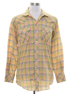 1960's Mens Mod Plaid Western Shirt