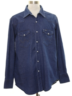 1980's Mens Denim Work Style Western Shirt