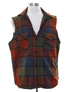 1970's Mens Grunge Joe Dirty Style Cut Off Sleeveless Flannel Shirt