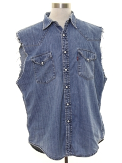 1990's Mens Grunge Cut Off Sleeveless Joe Dirt Style Denim Western Shirt